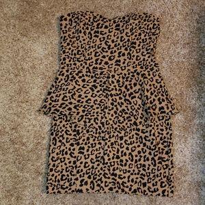 NWT ASOS Leopard Strapless Peplumini Dress sz 8